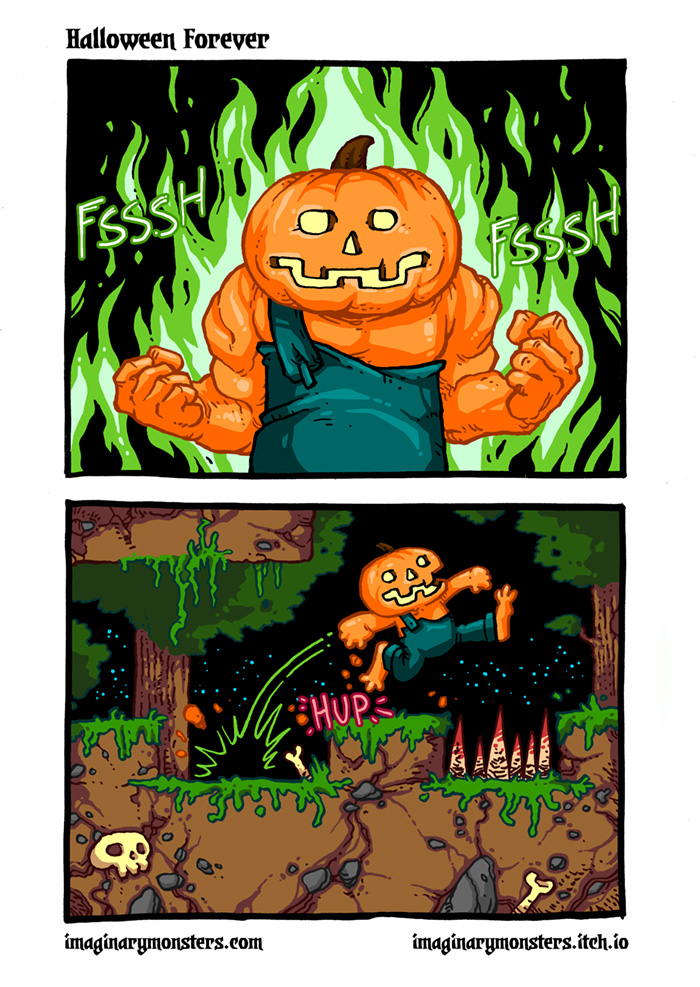 Halloween Forever page 7. Go, Pumpkin Man, go!