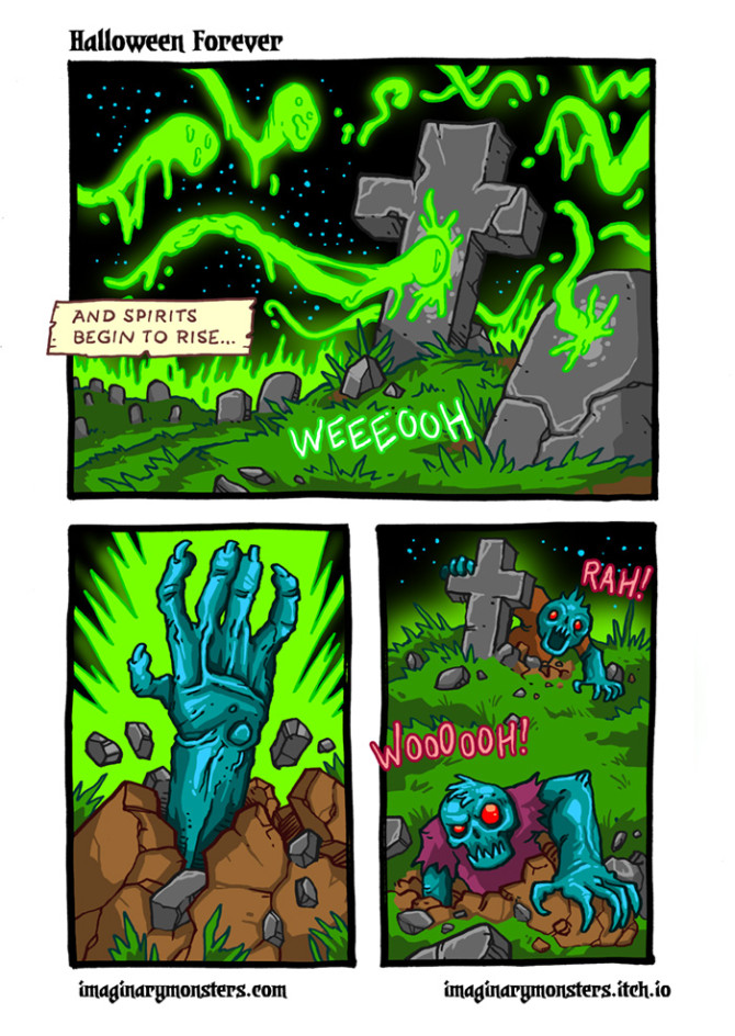 Halloween Forever page 3. And spirits begin to rise…