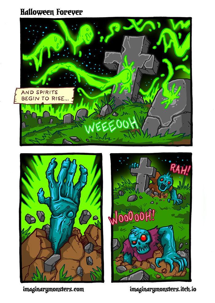Halloween Forever page 3. The spell winds its way through the graveyard and spirits begin to rise...