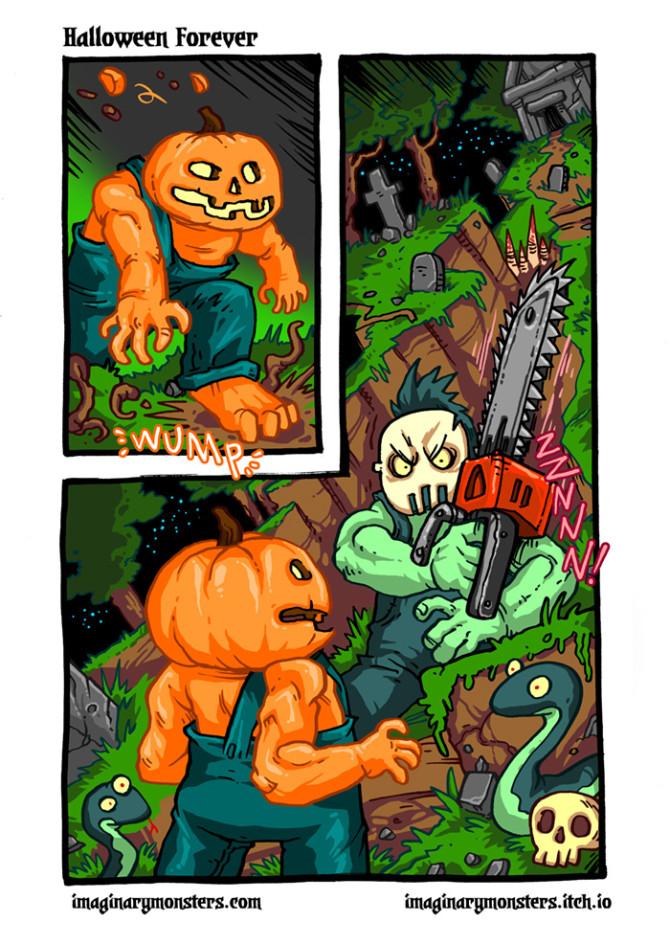 Halloween Forever page 5. Pumpkin Man, Arise!
