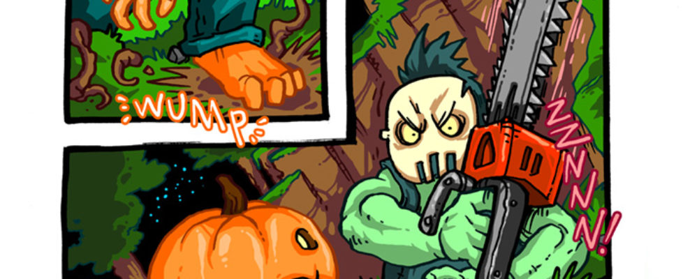 Pumpkin Man arises and confronts a Chainsaw Maniac!