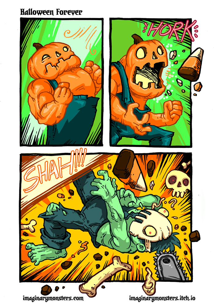 Halloween Forever page 6. Pumpkin Man, Candy Corn Attack!
