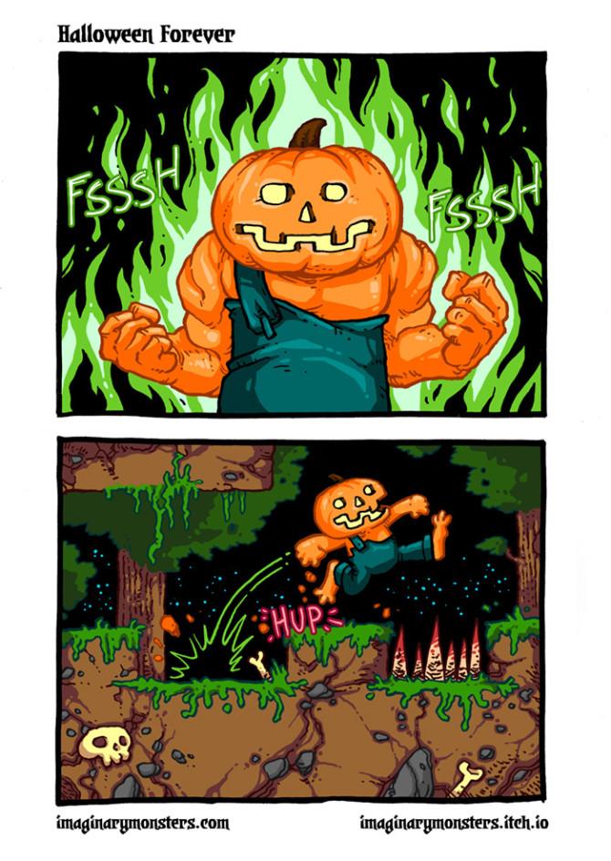 Halloween Forever page 7. Go, Pumpkin Man, go!
